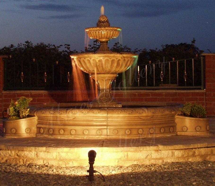 2 tier Antique granite fountain design