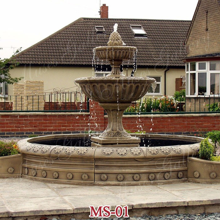 2 Tier Large Antique Granite Circular Fountain Water Feature for Sale MS-01