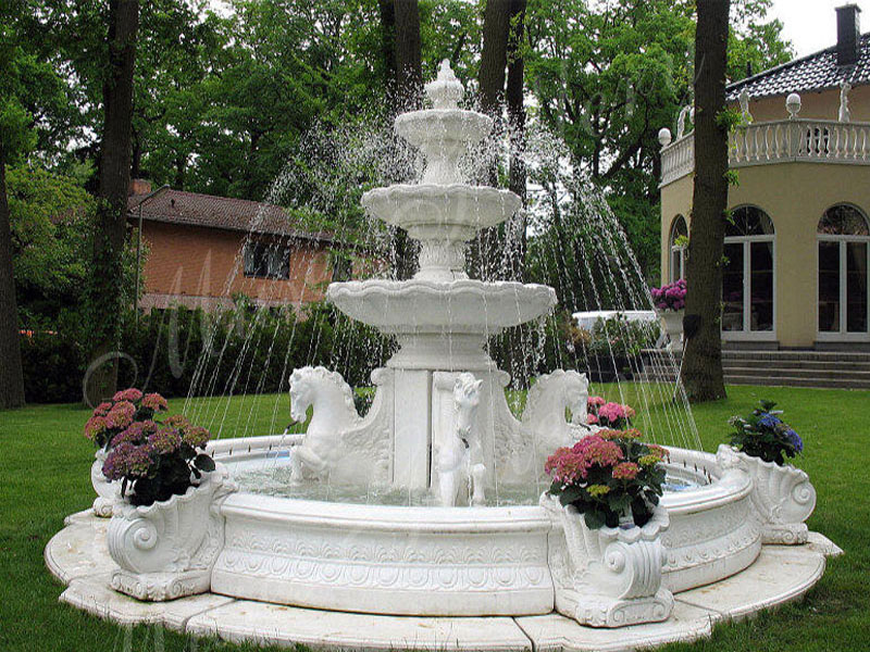 3 Tier Outdoor Marble Water Fountains With Horses Sculpture for Sale MS-02