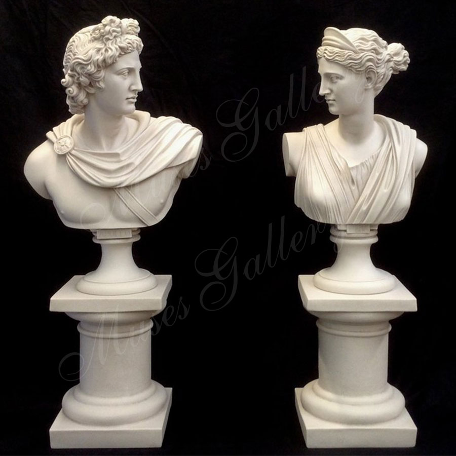 Busts God Apollo & Goddess Artemis Diana Greek Carving Marble Sculpture for Sale