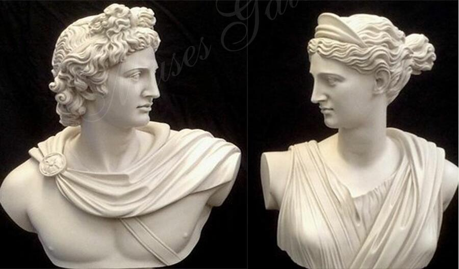 Famous Busts God Apollo & Goddess Artemis Diana Greek Carving Marble Sculpture for Sale