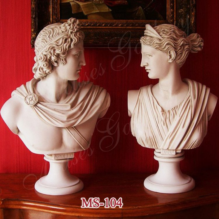 Famous Set 2 Busts God Apollo and Goddess Artemis Diana Greek Carving Marble Sculpture for Sale