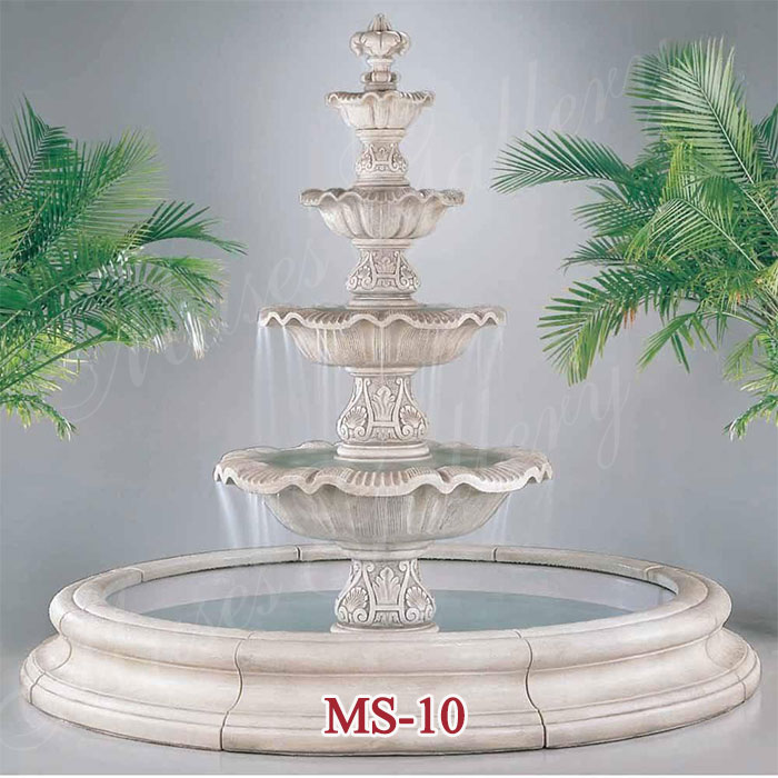 Outdoor Large 4 Tiers Marble Stone Carving Water fountain for Garden