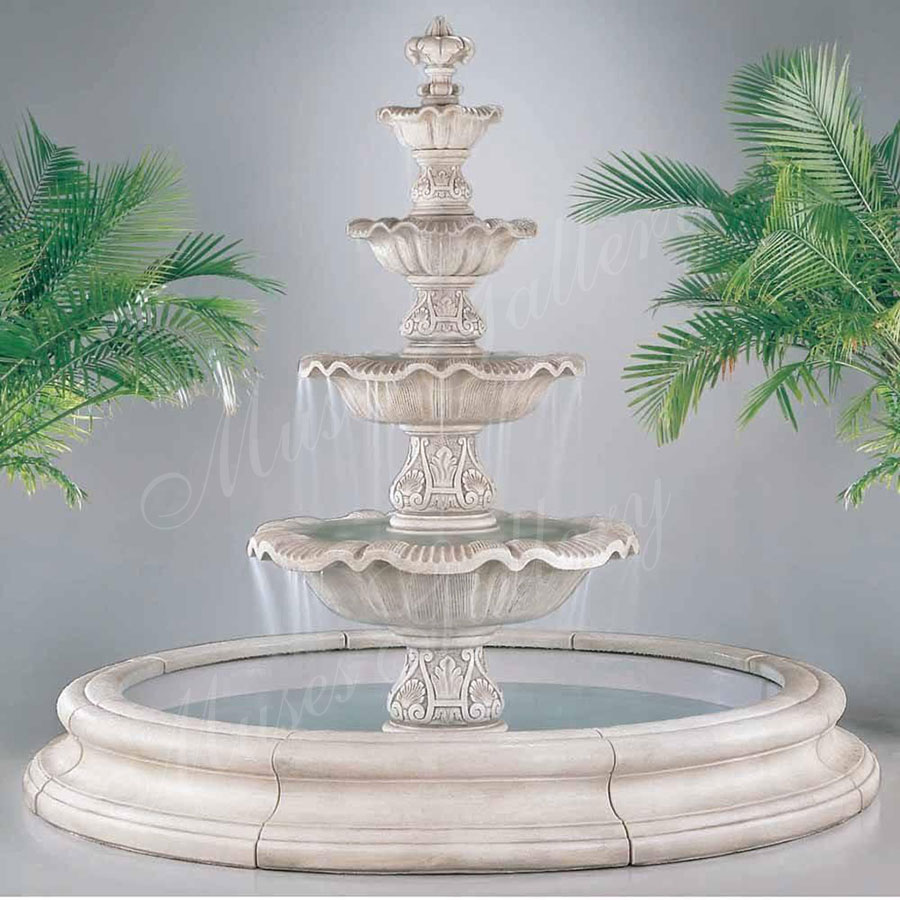 Outdoor Large 4 Tiers Marble Stone Carving Water fountain for sale