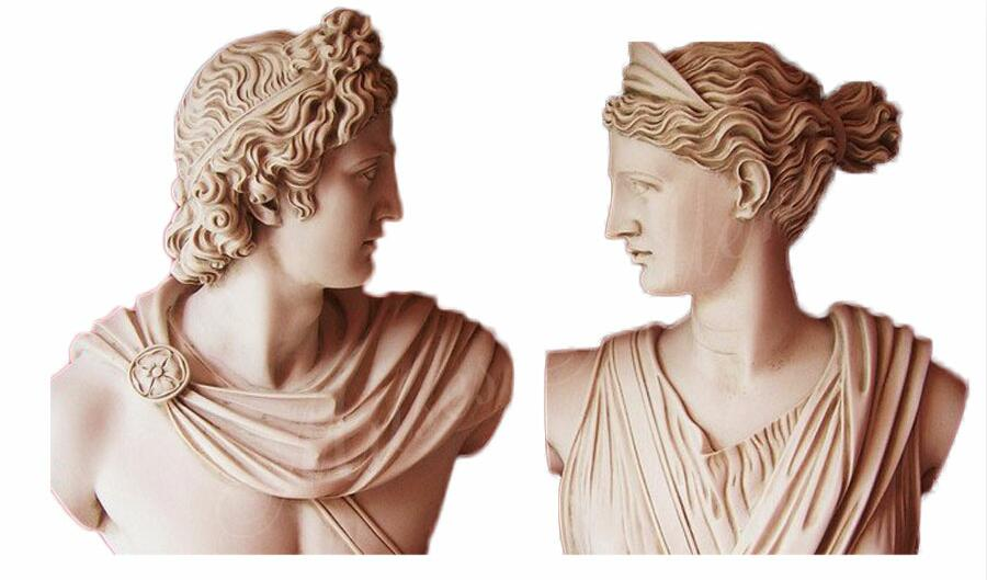 Set 2 Busts God Apollo & Goddess Artemis Diana Greek Carving Marble Sculpture for Sale for Home Decor MS-104