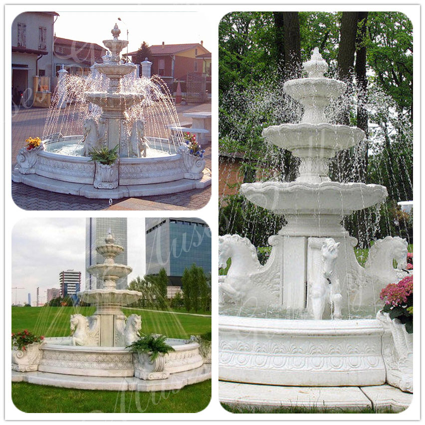 Outdoor Marble Water Fountains With Horses Sculpture for Sale