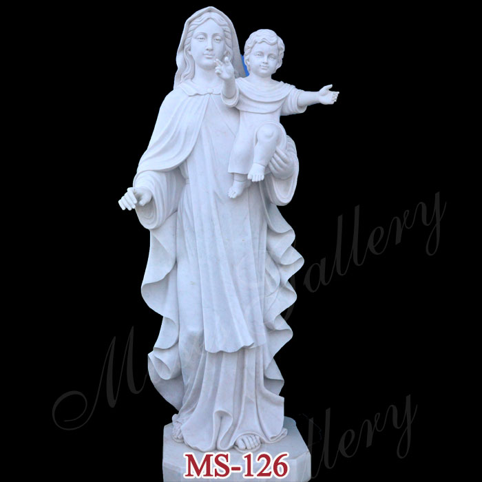 Life Size Virgin Mary with Jesus Statue with Marble Carving for Sale