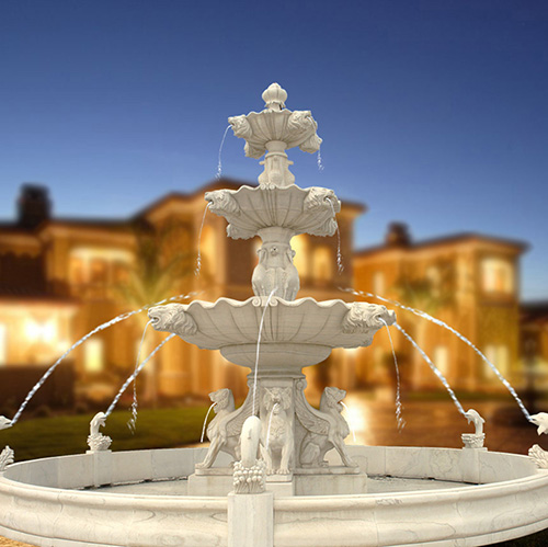 Outdoor Large 3 Tiers Stone Fountains With Four Sitting Lion Statues Surround