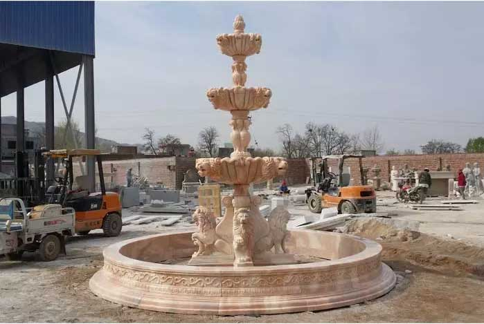 Outdoor Large 3 Tiers Stone Fountains With Four Sitting Lion Sculptures