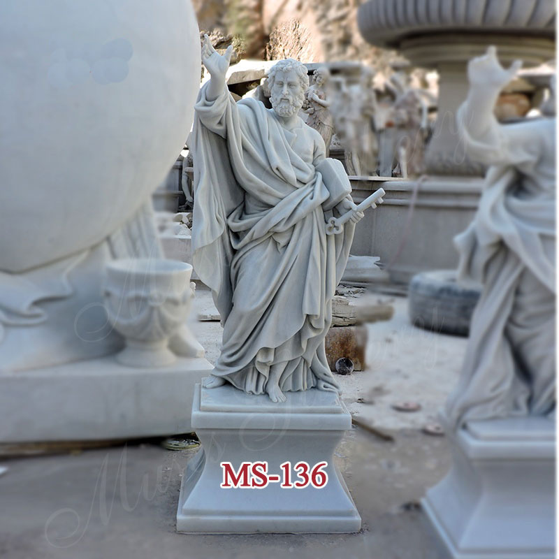 White Marble Apostles St Peter Statue Catholic Religious Sculpture Church Supply Warehouse MS-136