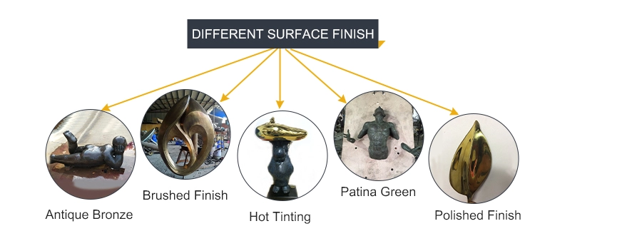 different surface finish of bronze casting sculpture