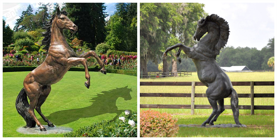 Bronze Rearing Horse Statue With Majestic Spirit Showed In Garden M 103 Marble Stainless Steel Bronze Sculpture For Sale