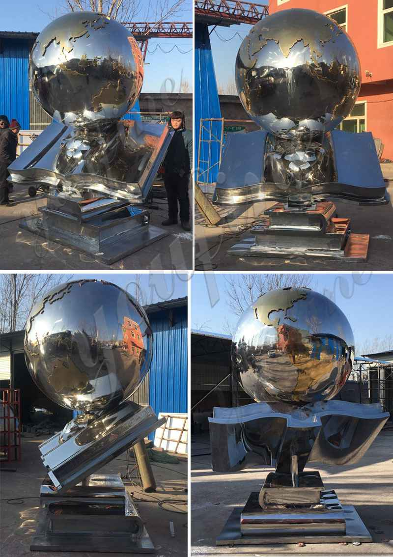 Contemporary Large Stainless Steel Globe Sculpture Design for Sale