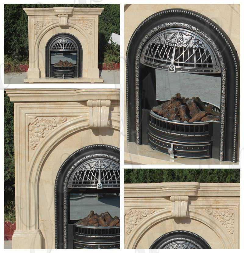 Customized Beautiful simple classic beige marble fireplace for Sale MOKK-486