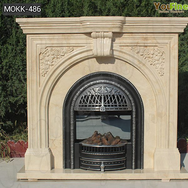 Customized Beautiful simple classic beige marble fireplace for Sale MOKK-486