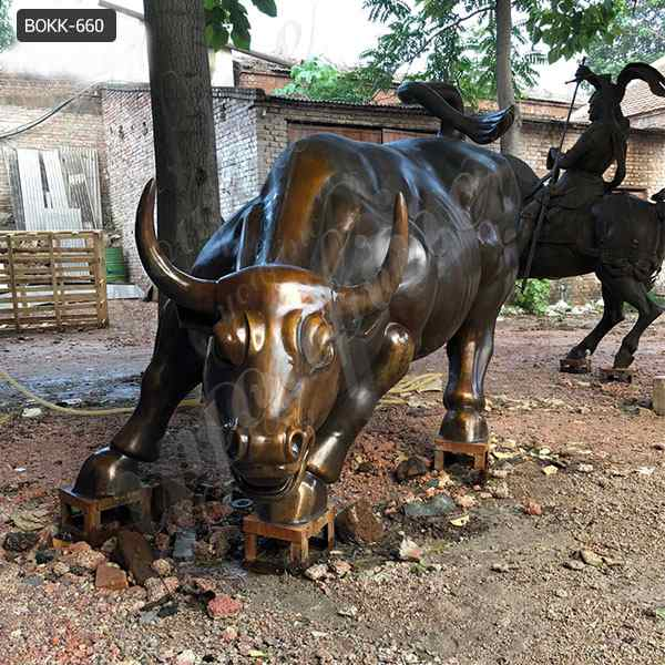 Famous Outdoor Casting Bronze Bull Statue Wall Street Replica for Sale BOKK-660