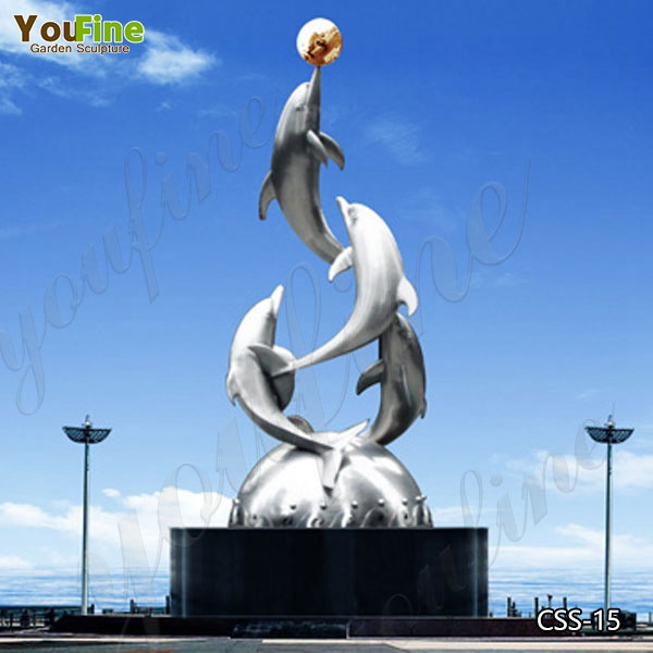 Modern Large Outdoor Stainless Steel Dolphin Sculpture Suppliers CSS-15