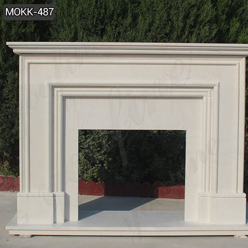 Simple Modern Stone Design White Outdoor Stone Fireplace