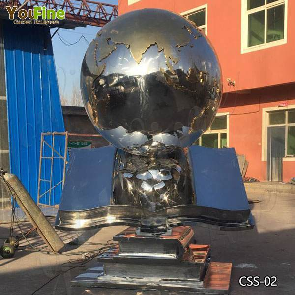 Contemporary Large Stainless Steel Globe Sculpture Design for Sale CSS-02