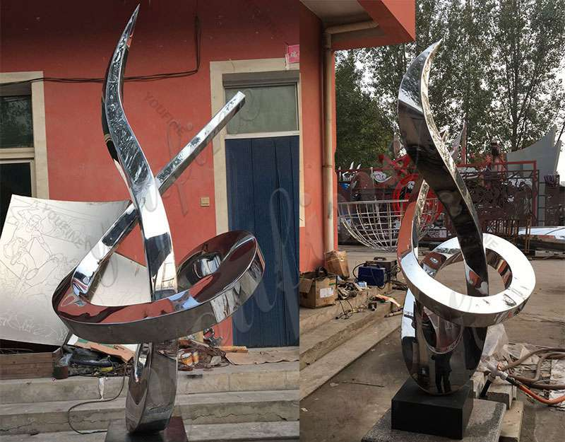 modern abstract stainless sculpture outside for sale