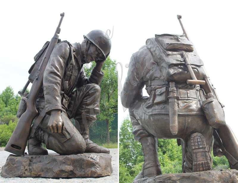 Bronze Kneeling Soldier Statue