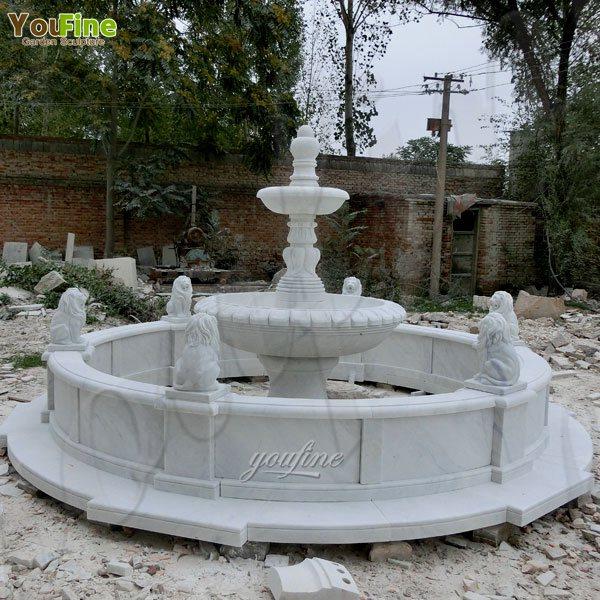 Two Tiered White Marble Water Fountain Garden Decoration Design MOKK-105