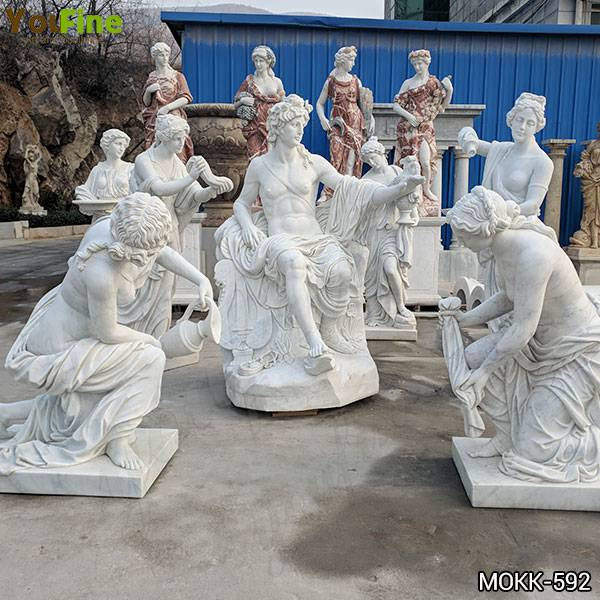 Hand Carved White Marble Apollo Bath Statues for Garden Suppliers MOKK-592