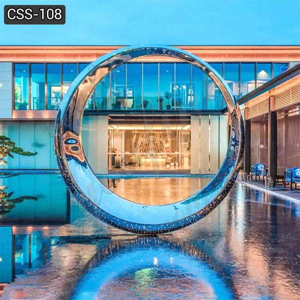 Handmade Modern Outdoor Stainless Steel Ring Sculpture for Sale CSS-108