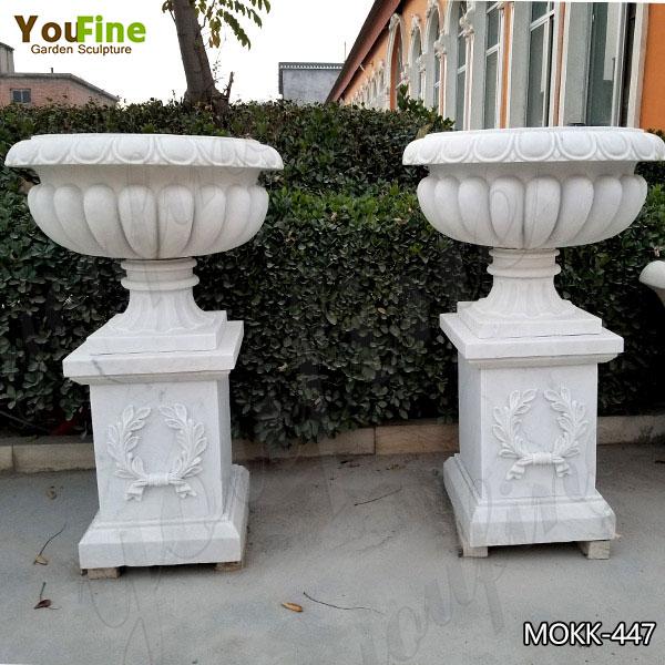 Large Garden White Marble Flower Planters for Sale MOKK-447