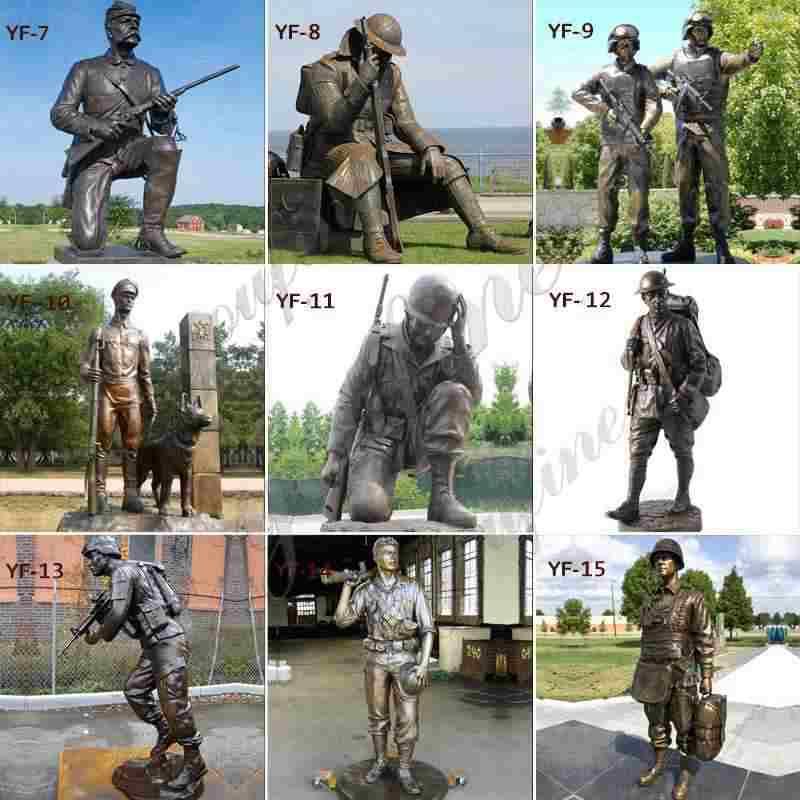 Life Size Battlefield Cross Bronze Fallen Soldier Statue