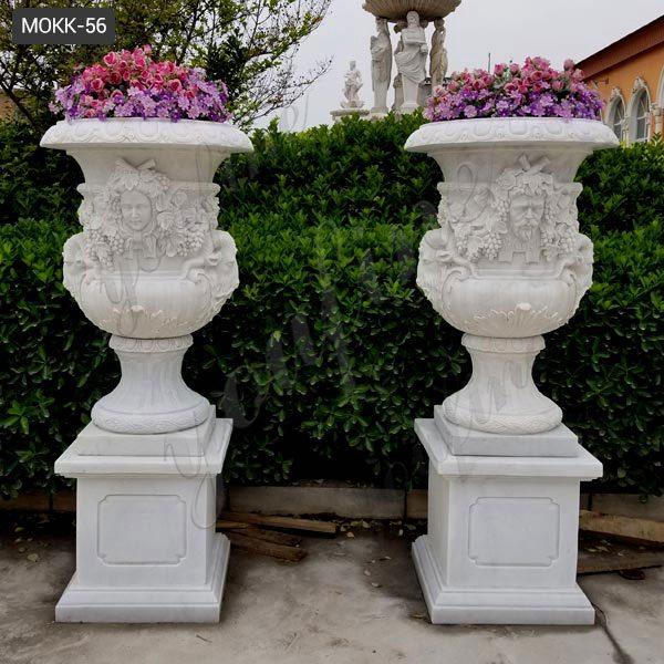 Life Size Garden Ornament White Marble Planters Wholesale MOKK-56