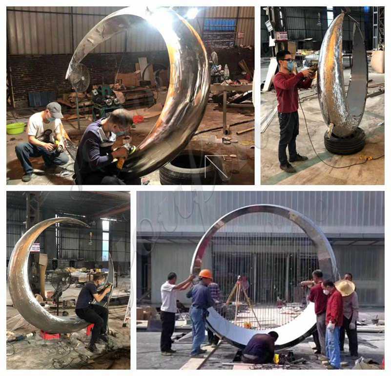 Modern Outdoor Stainless Steel Ring Sculpture