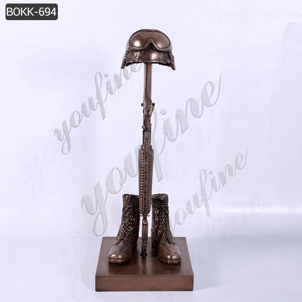Outdoor Life Size Battlefield Cross Bronze Fallen Soldier Memorial Statue Supplier BOKK-694