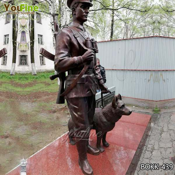 Outdoor Military Antique Bronze Soldier and Dog Statue for Sale BOKK-439