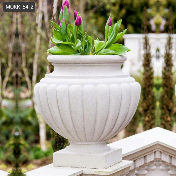 Factory Supply Outdoor White Marble Garden Flower Pots for Garden MOKK-54