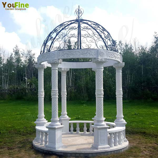 Popular Outdoor Garden Decoration White Marble Gazebo Supplier MOKK-35