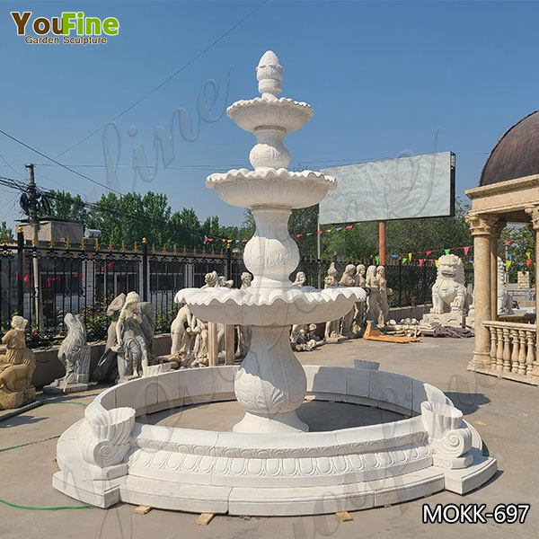 Three Tiered Marble Water Lotus Fountain for Backyard Decor Sale MOKK-697