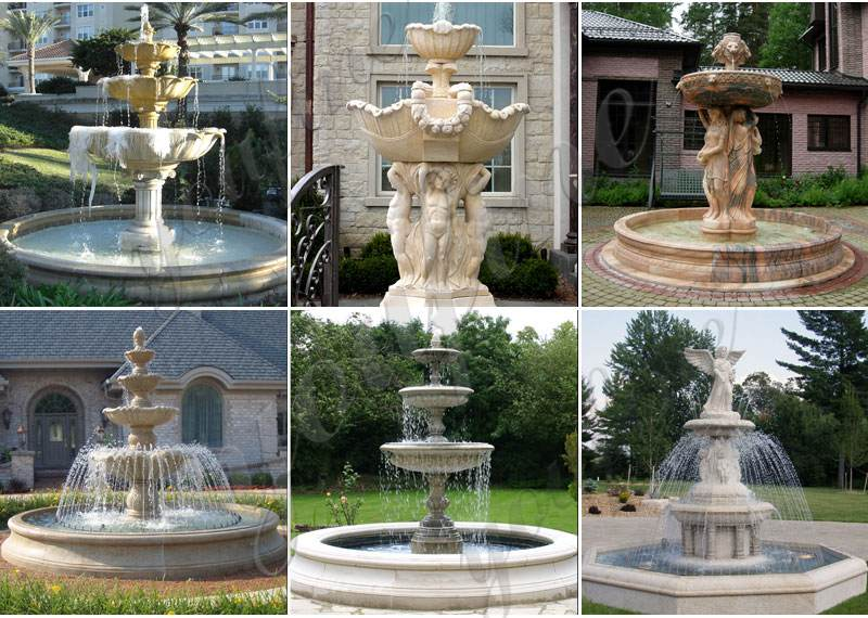 Three Tiered Marble Water Lotus Fountain for Backyard Decor Sale
