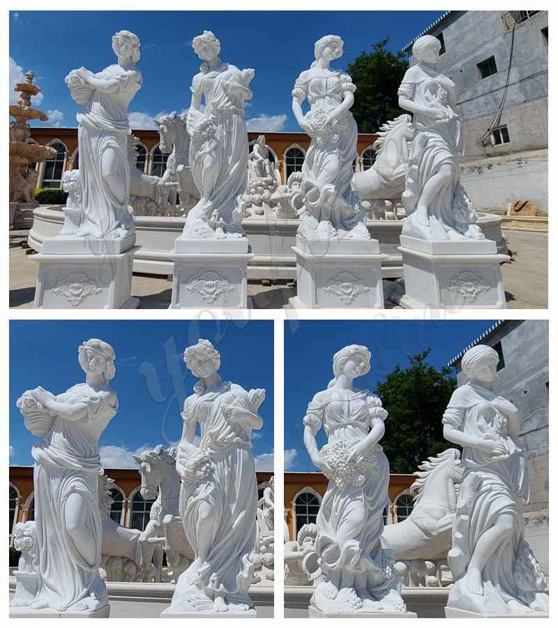 White Marble Four Seasons Statues detail