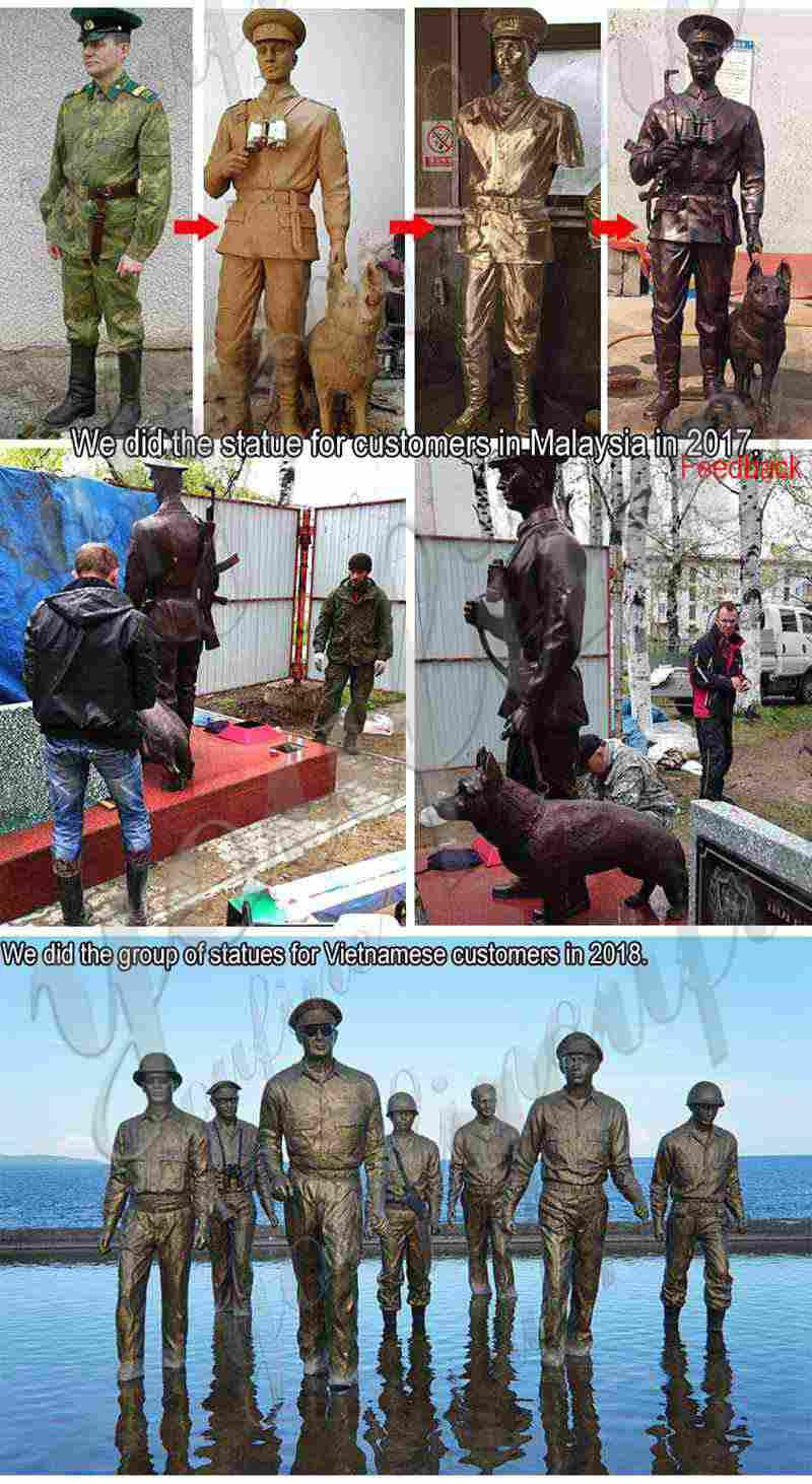 Antique Bronze Soldier and Dog Statue