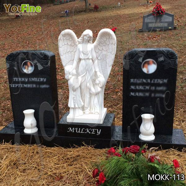 Black Granite Upright Headstone with Angel Statue Suppliers MOKK-113