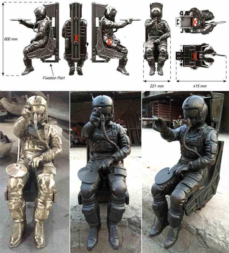 Bronze Spaceman Statue