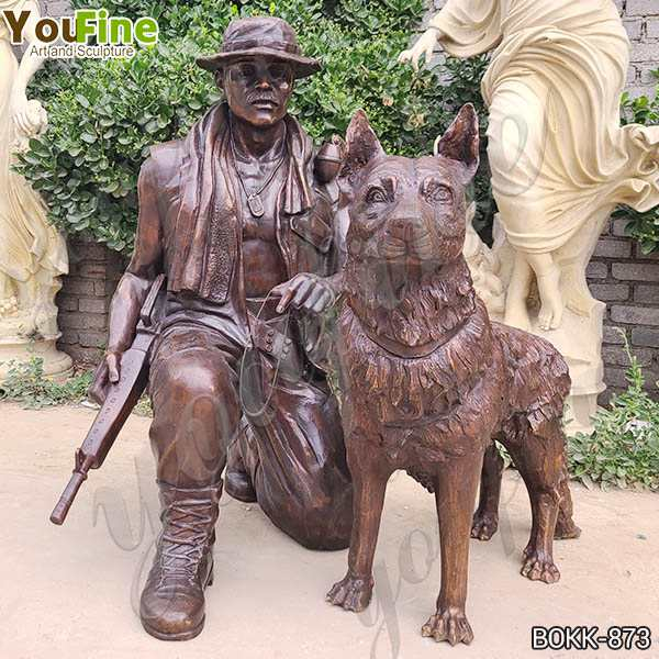 Custom Antique Bronze Soldier and Dog Statue for An American Client Maker BOKK-873