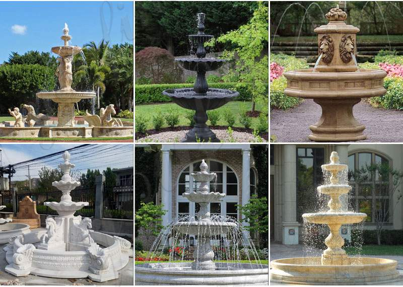 Customized Polished Granite Tiered Fountain Simple Style for