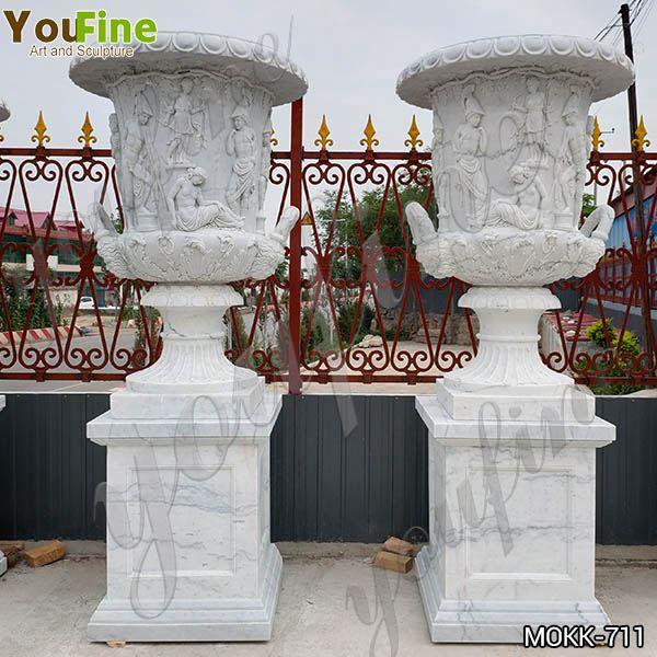 Delicate Garden Decoration Marble Flower Pots with Human for Sale MOKK-711