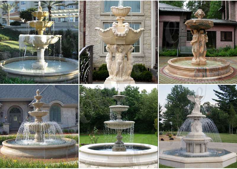 Hand Carved Marble Tiered Woman Water Fountain for