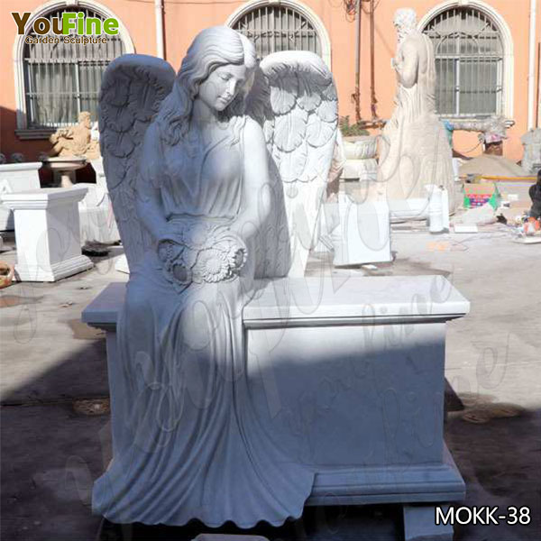 High Quality White Marble Angel Monument Headstone from Factory MOKK-38