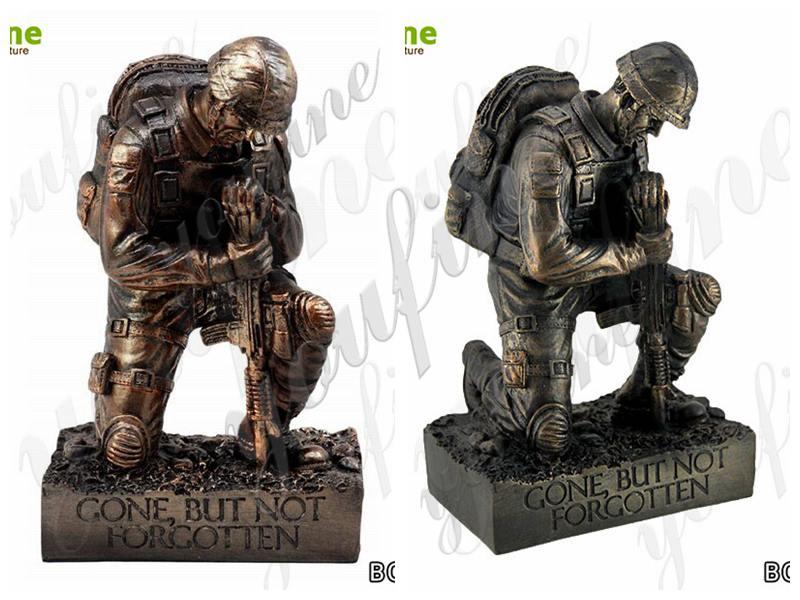 Life Size Bronze Kneeling Soldier Sculpture