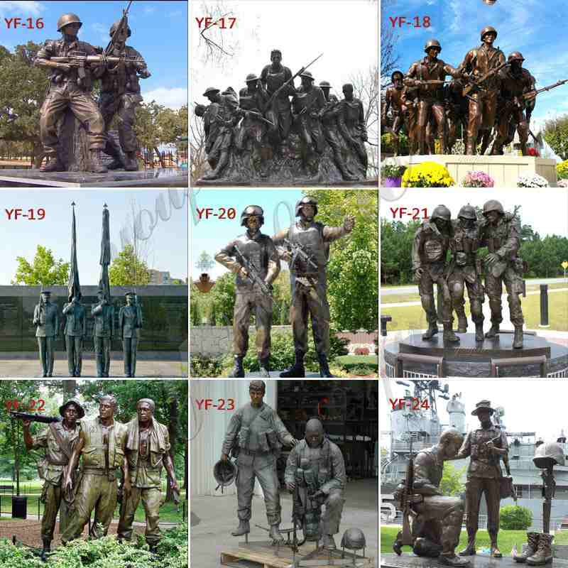 Life Size Bronze The Three Soldiers Statue