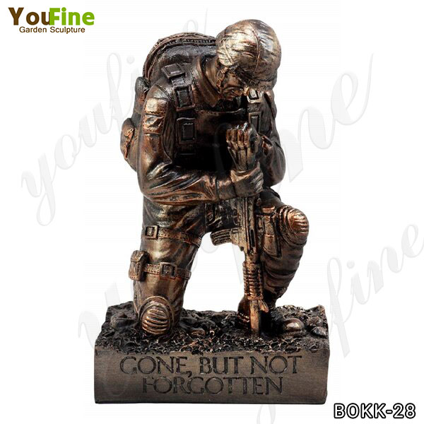 Life Size Outdoor Bronze Kneeling Soldier Sculpture for Sale BOKK-28